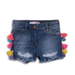 Дънкови панталонки с цветни ресни