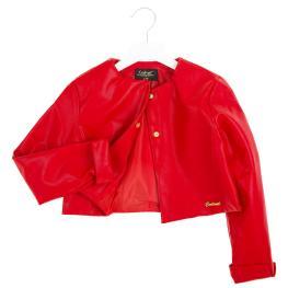 Кожен жакет в червен цвят
